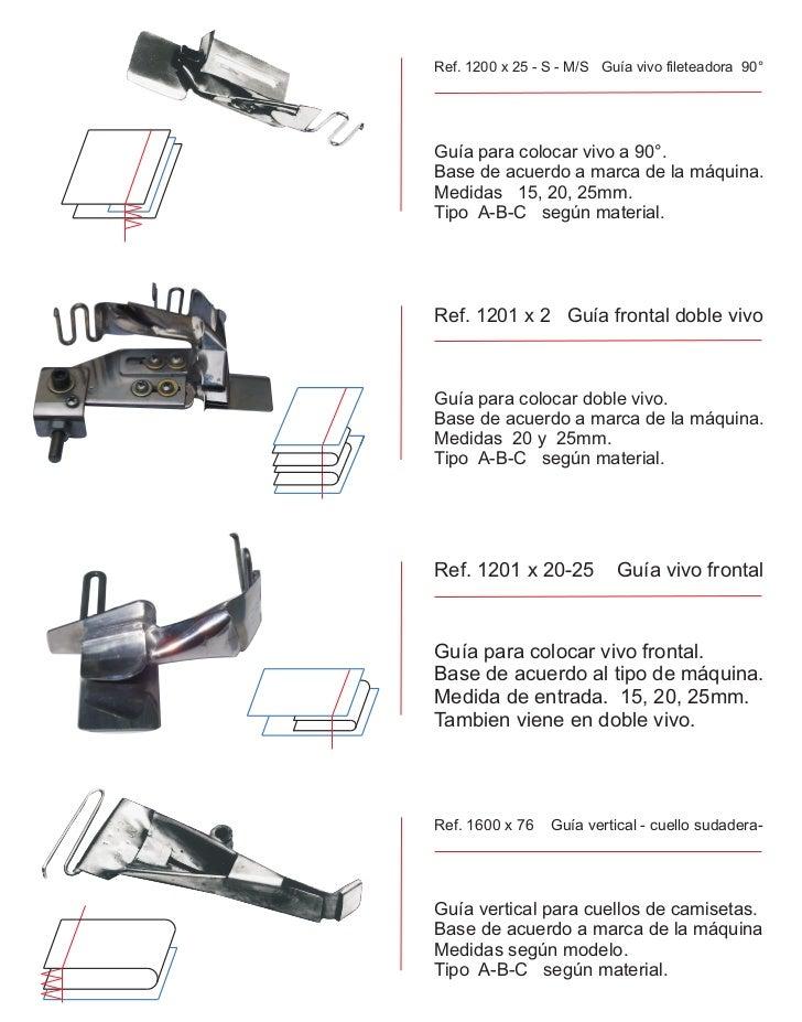 Ref. 1200 x 25 - S - M/S Guía vivo fileteadora 90°Guía para colocar vivo a 90°.Base de acuerdo a marca de la máquina.Medid...