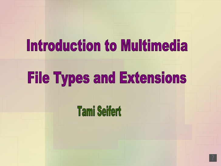 Introduction to Multimedia File Types and Extensions Tami Seifert