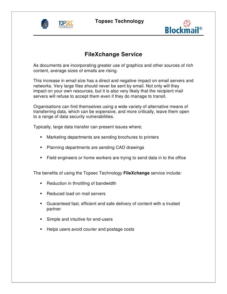 Topsec Technology                          FileXchange ServiceAs documents are incorporating greater use of graphics and o...