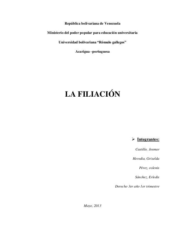 """República bolivariana de VenezuelaMinisterio del poder popular para educación universitariaUniversidad bolivariana """"Rómulo..."""