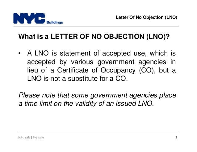 New York City Department of Buildings Filing rep course105 – No Objection Letter from Company