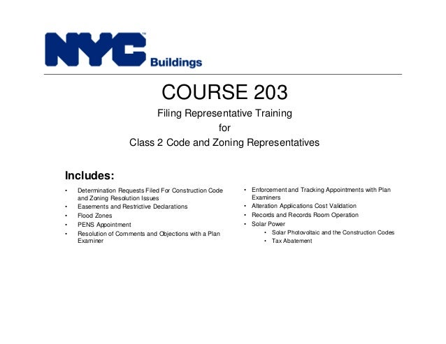 New York City Department Of Buildings Filing Rep Course 203