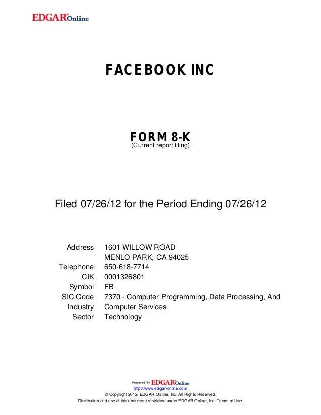 FACEBOOK INC                                FORM 8-K                                (Current report filing)Filed 07/26/12 ...