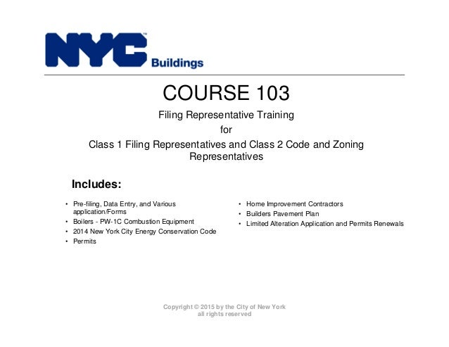 New York City Department of Buildings Filing rep course_103