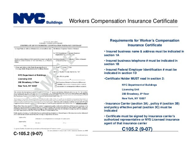 build safe live safe workers compensation insurance certificate c 105
