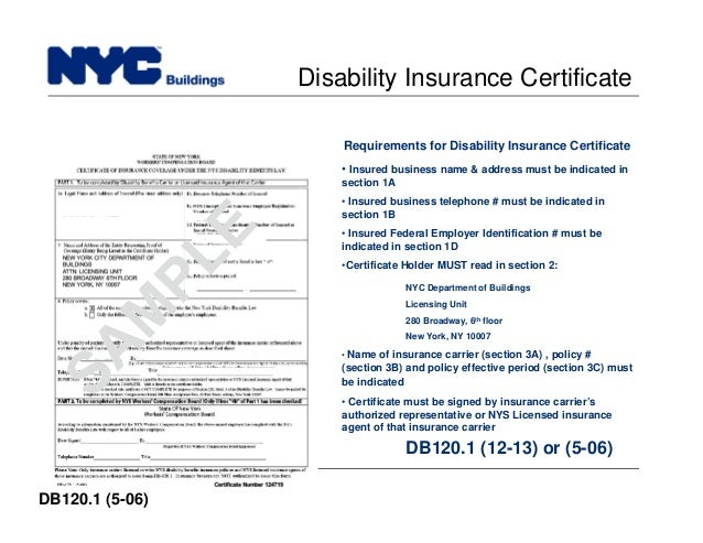 New york city department of buildings filing rep course104 67 build safe live safe disability insurance certificate yelopaper Gallery