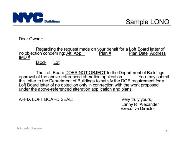 New York City Department of Buildings Filing rep course206 – Sample Letter of No Objection
