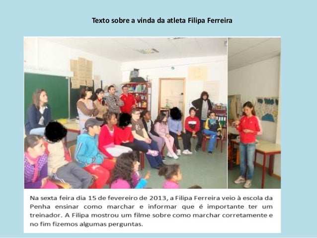 Texto sobre a vinda da atleta Filipa Ferreira