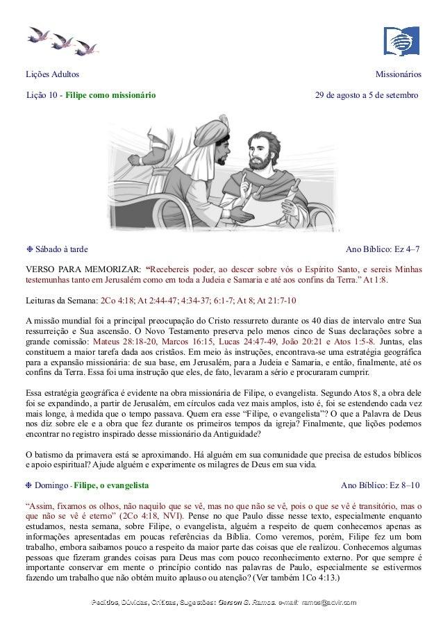 Lições Adultos Missionários Lição 10 - Filipe como missionário 29 de agosto a 5 de setembro ❉ Sábado à tarde Ano Bíblico: ...
