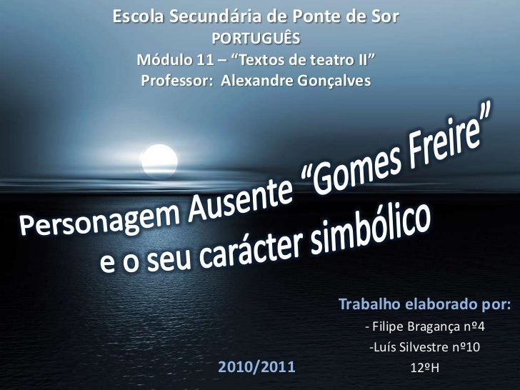 """Escola Secundária de Ponte de SorPORTUGUÊSMódulo 11 – """"Textos de teatro II""""Professor:  Alexandre Gonçalves<br />Personagem..."""