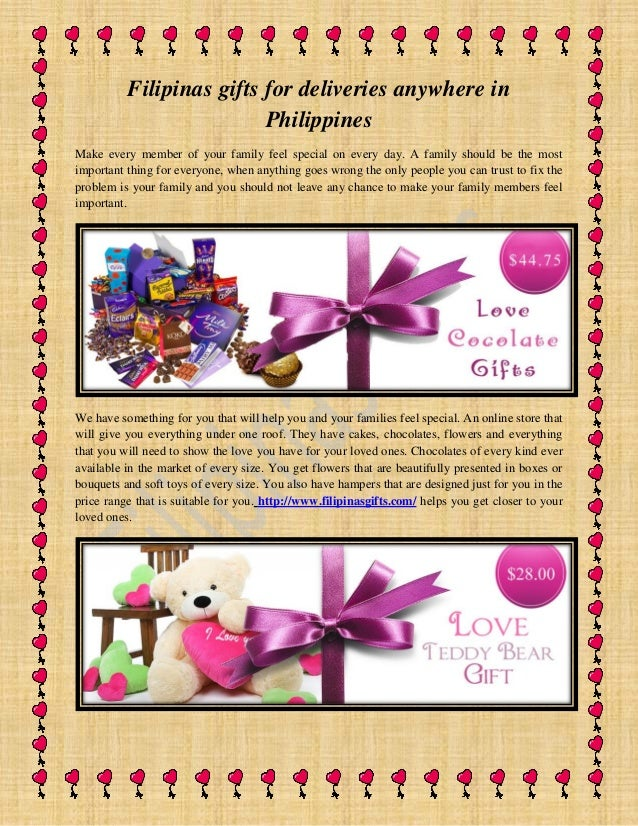Filipinas gifts for deliveries anywhere in Philippines Make every member of your family feel special on every day. A famil...