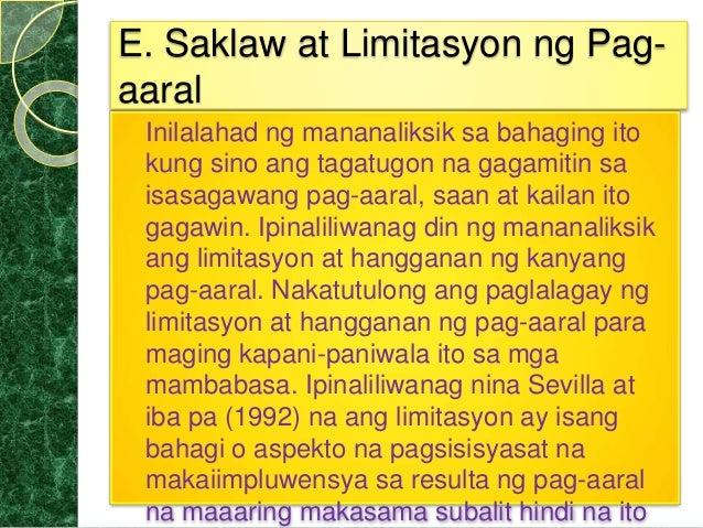 saklaw at limitasyon ng pag aaral sa Kolehiyo ng edukasyon mga maling gawi sa pag-aaral ng mga estudyante sa unang taon sa  saklaw at limitasyon.