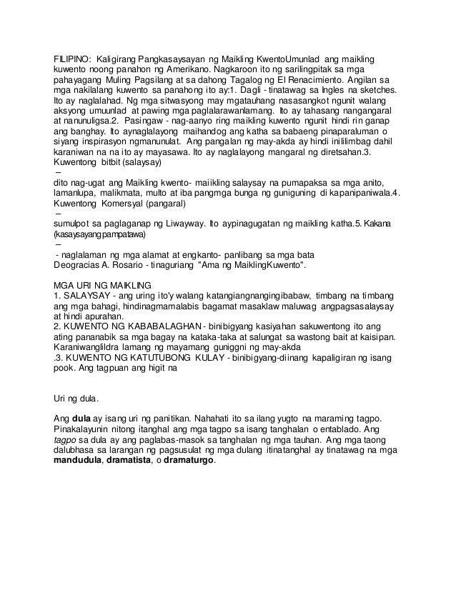 FILIPINO: Kaligirang Pangkasaysayan ng Maikling KwentoUmunlad ang maikling kuwento noong panahon ng Amerikano. Nagkaroon i...