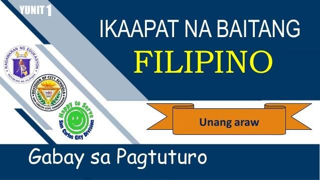 IKAAPAT NA BAITANG FILIPINO YUNIT Gabay sa Pagtuturo 1 Unang araw