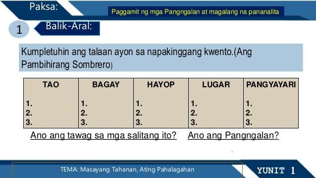 1 Balik-Aral: TEMA: Masayang Tahanan, Ating Pahalagahan YUNIT 1 Paksa: Paggamit ng mga Pangngalan at magalang na pananalit...