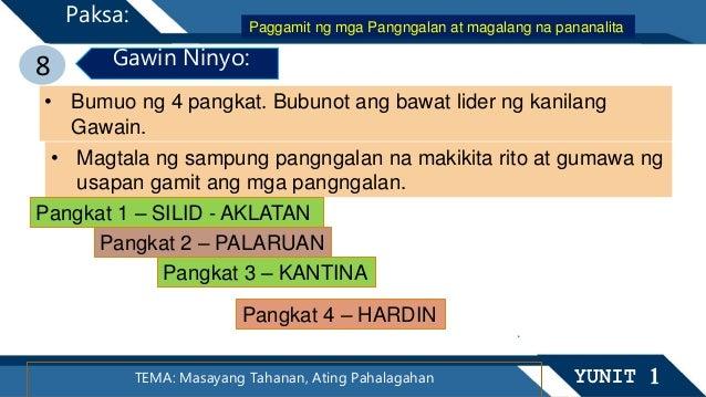 TEMA: Masayang Tahanan, Ating Pahalagahan YUNIT 1 Paksa: 8 Gawin Ninyo: • Bumuo ng 4 pangkat. Bubunot ang bawat lider ng k...