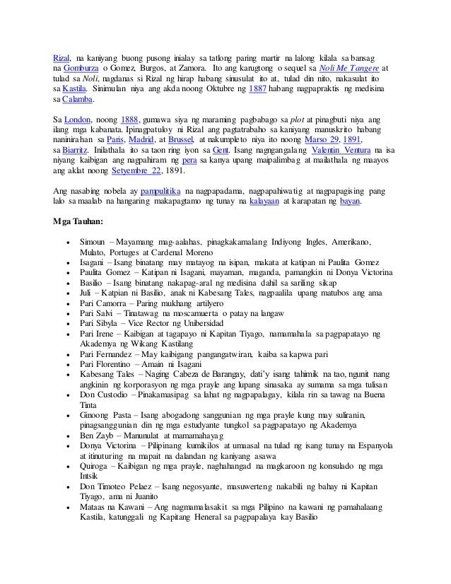 el filibusterismo in tagalog repleksyon Read (book notes / summary in tagalog) from the story ang buod ng el filibusterismo by pinoysiako (joanna mae l osik) with 137,891 reads====.