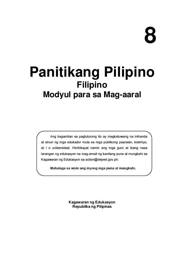 8 Panitikang Pilipino Filipino Modyul para sa Mag-aaral Kagawaran ng Edukasyon Republika ng Pilipinas