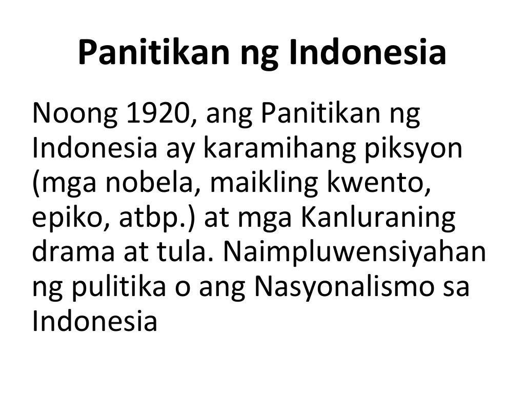 Filipino 9 Panitikan ng Indonesia