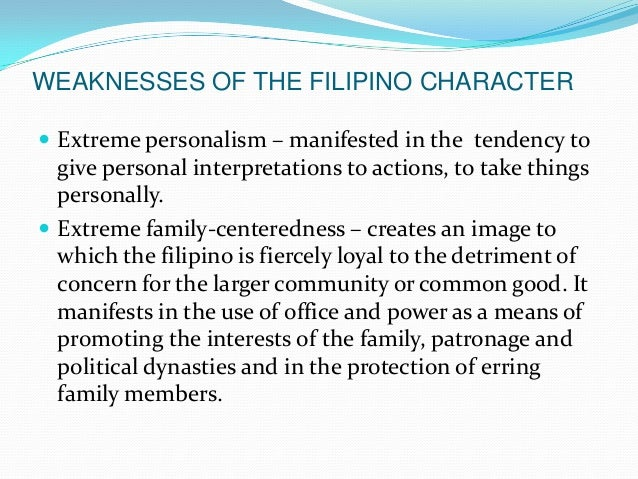 Roots of the filipino character