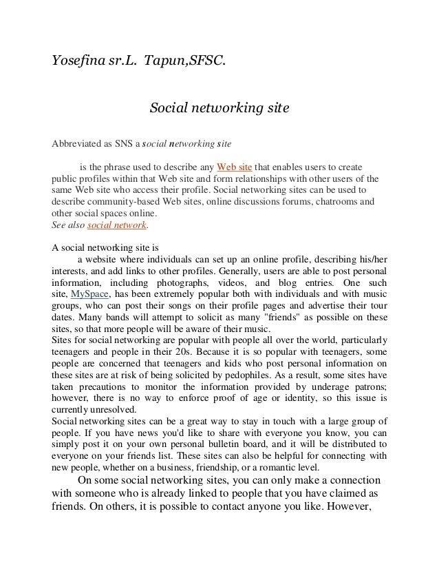 Yosefina sr.L. Tapun,SFSC.                         Social networking siteAbbreviated as SNS a social networking site      ...