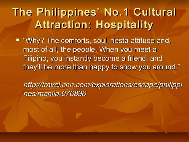 filipino culinary and tourism hospitality essay Not only must you be majoring in hospitality, tourism, or travel, you must also be able to maintain a gpa of 30 or higher in a 4 point scale to be considered, you must submit your application with your resume, proof of residency, transcripts, and two letters of recommendation.