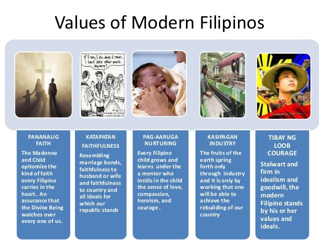filipino value In this article, the author looks carefully into the filipino value system as it relates to caring a critique of traditional value theory yields the conclusion that reason-based values have primacy over those that are based on emotion, such as caring.