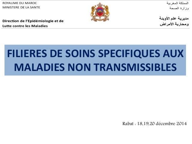 FILIERES DE SOINS SPECIFIQUES AUX MALADIES NON TRANSMISSIBLES Rabat : 18,19,20 décembre 2014