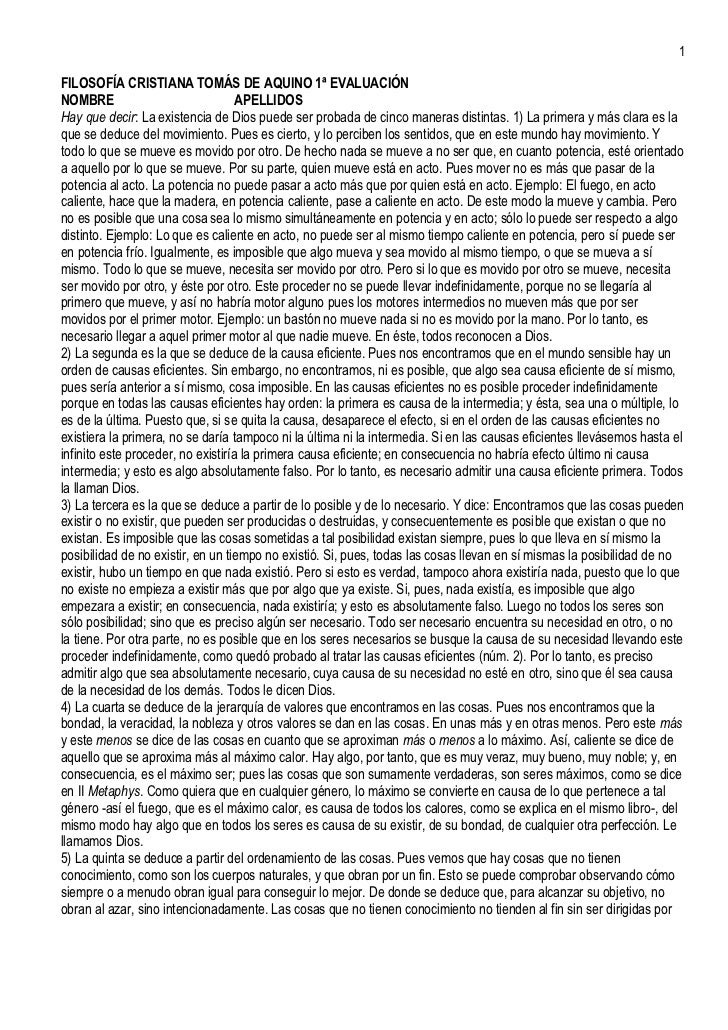 1FILOSOFÍA CRISTIANA TOMÁS DE AQUINO 1ª EVALUACIÓNNOMBRE                              APELLIDOSHay que decir: La existenci...