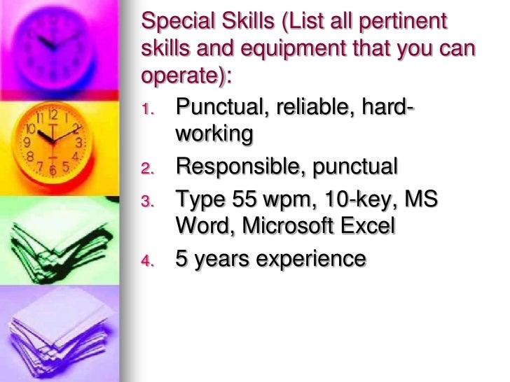 list special skills for job application