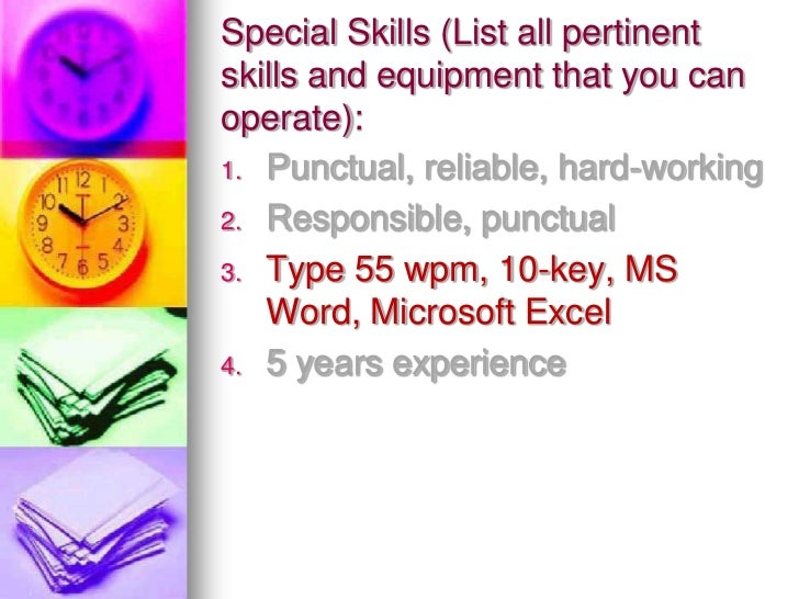 special skills to list on job application