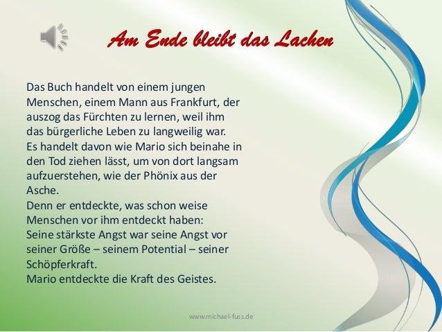 Am Ende bleibt das Lachen Das Buch handelt von einem jungen Menschen, einem Mann aus Frankfurt, der auszog das Fürchten zu...