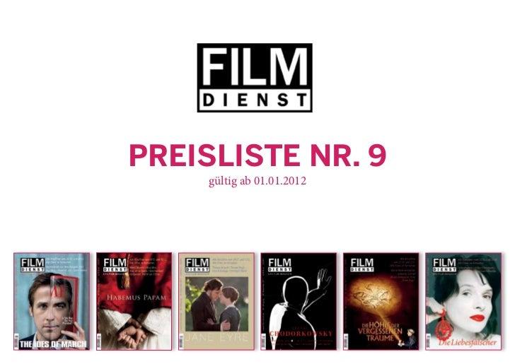 Preisliste Nr. 9    gültig ab 01.01.2012