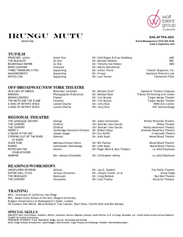 Irungu Mutu\'s Acting Resume
