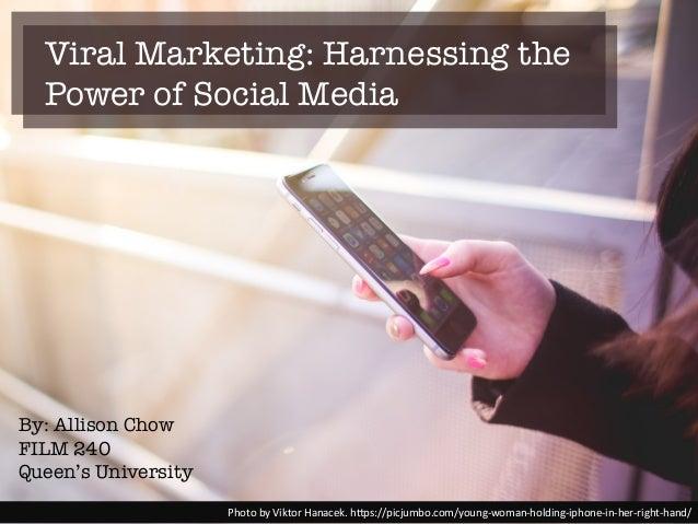 Viral Marketing: Harnessing the Power of Social Media Photo%by%Viktor%Hanacek.%h2ps://picjumbo.com/young;woman;holding;iph...