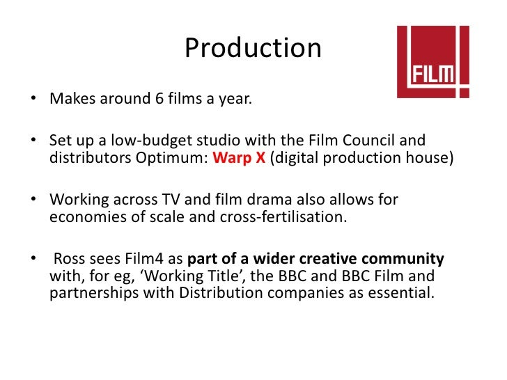 Production• Makes around 6 films a year.• Set up a low-budget studio with the Film Council and  distributors Optimum: Warp...