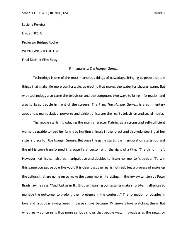 Movie essay sample