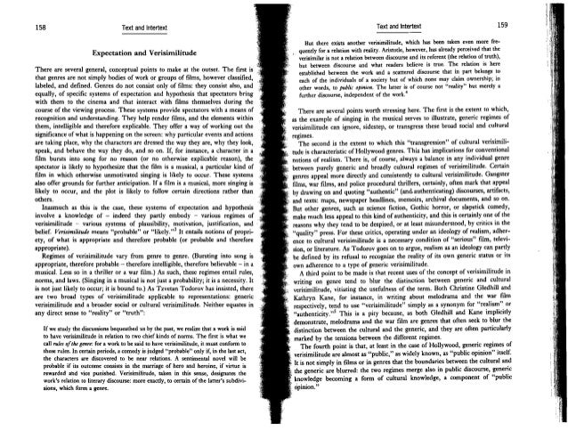 158 Text and Intertext Expectation and Verisimilitude There are several general, conceptual points to make at the outset. ...