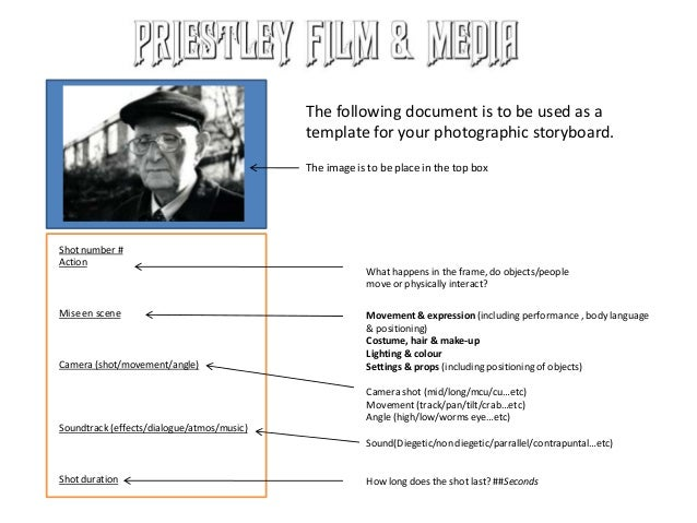 The following document is to be used as a template for your photographic storyboard. The image is to be place in the top b...