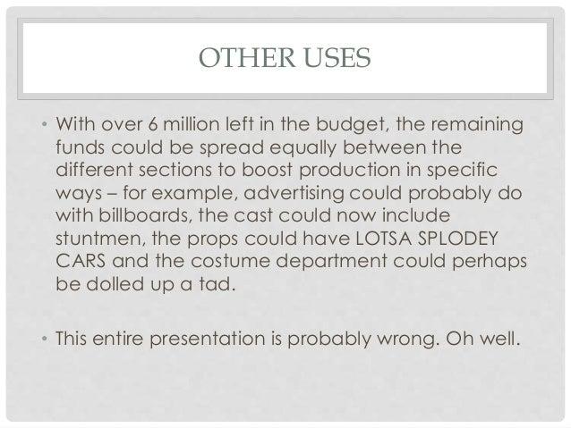 Film Budgets Presentation – Film Budget Example
