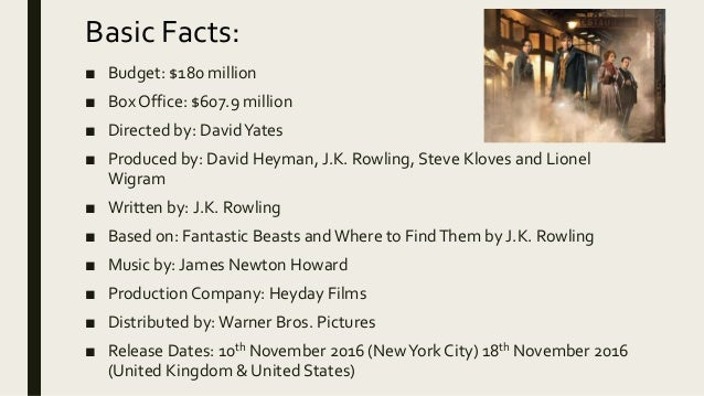 Fantastic beasts and where to find them movie release date in Sydney