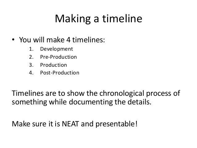 Film development pre production production – Sample Production Timeline