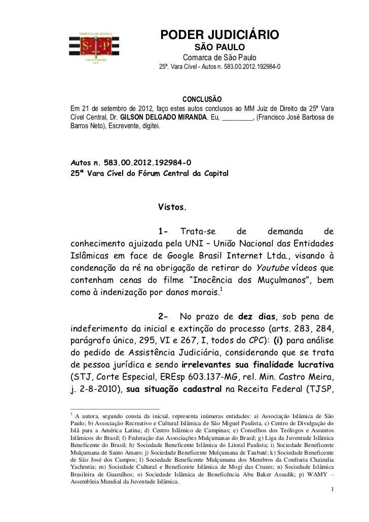 PODER JUDICIÁRIO                                             SÃO PAULO                                           Comarca d...