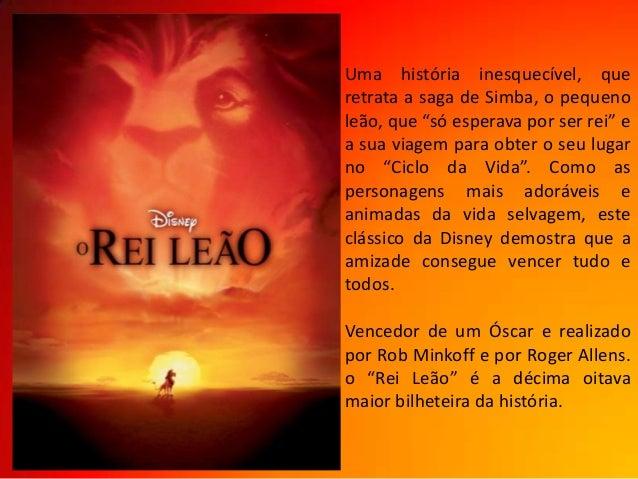 """Uma história inesquecível, queretrata a saga de Simba, o pequenoleão, que """"só esperava por ser rei"""" ea sua viagem para obt..."""