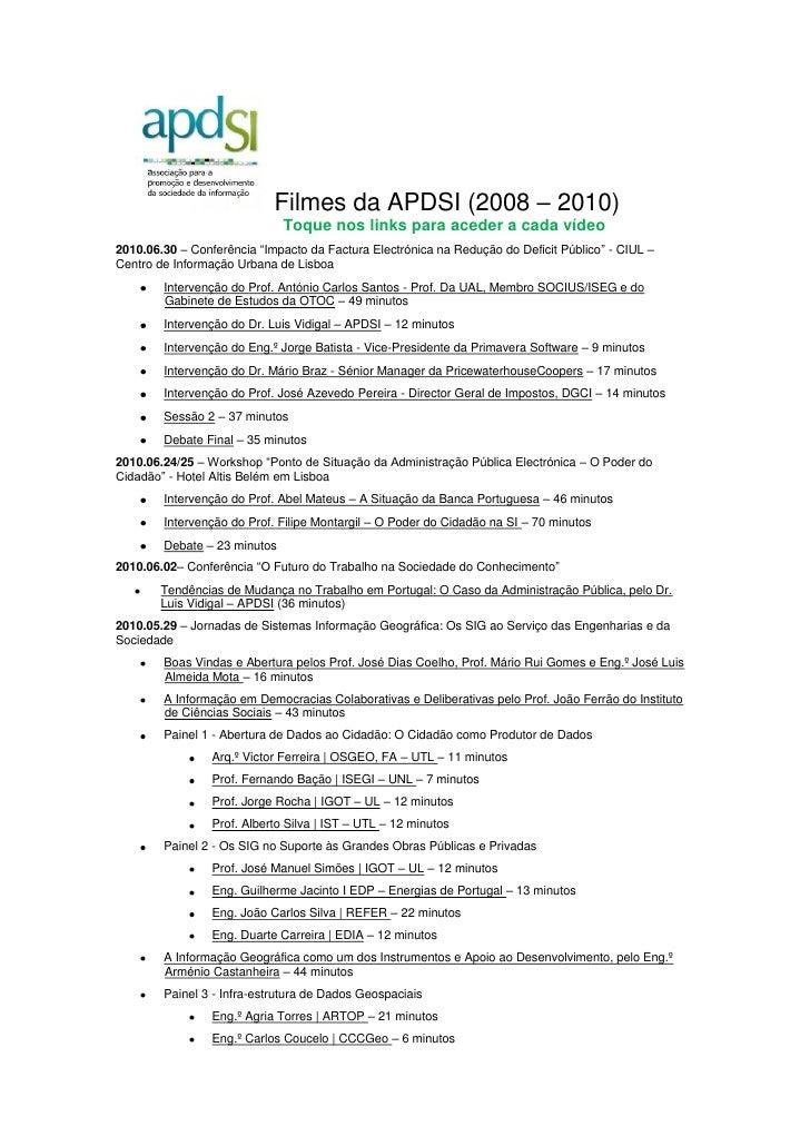 Filmes da apdsi   julho 2010
