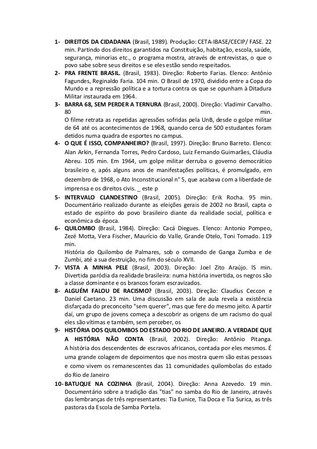 1- DIREITOS DA CIDADANIA (Brasil, 1989). Produção: CETA-IBASE/CECIP/ FASE. 22 min. Partindo dos direitos garantidos na Con...
