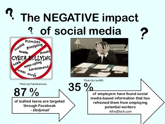 the negative impact of social media on teens Social media and interactive sites move fast, with friends and contacts posting photos of themselves in often provocative poses and outfits teens are often caught up in this trend and might feel pressured to post comments or pictures of themselves to compete or feel good about themselves.