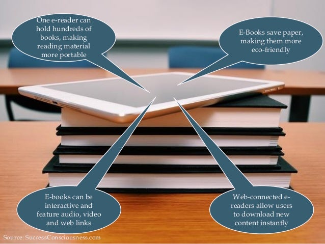 E-Books save paper, making them more eco-friendly Web-connected e- readers allow users to download new content instantly O...