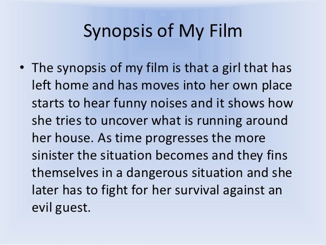 Great Film Synopsis Example