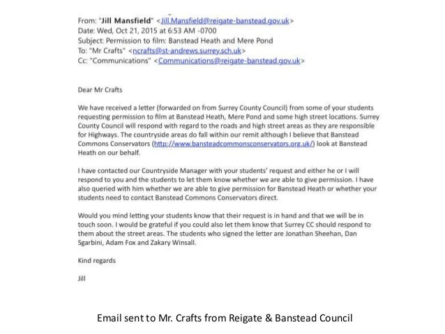 Email Sent To Mr Crafts From Reigate Banstead Council